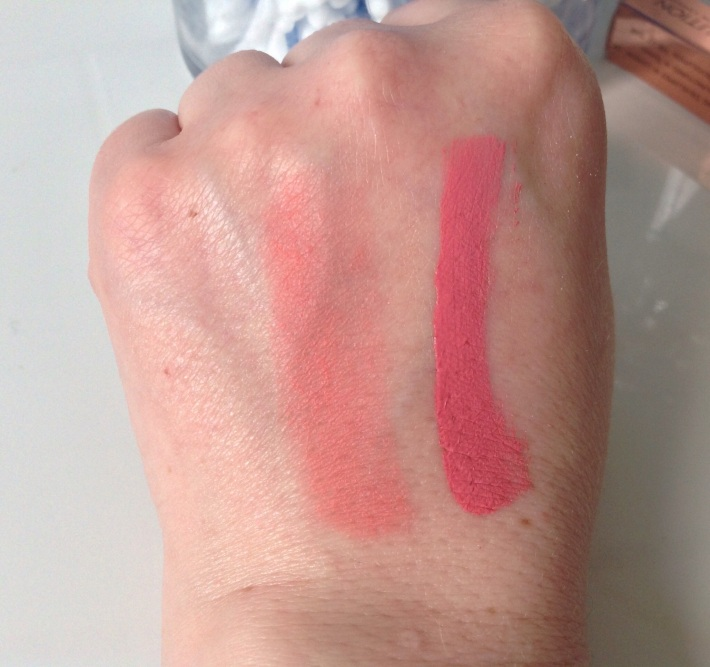 Left -Lip Lacquer. Right-lipstick